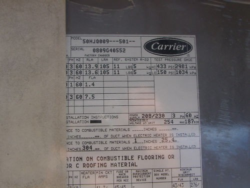 Carrier Package Unit Heat Pump 7 5 Ton 460 Volt
